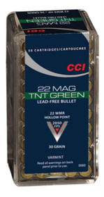 CCI TNT Green .22 Magnum 30gr, Lead Free, Hollow Point, 50rd/Box