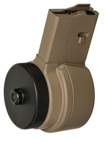 XS X-15 AR 15 High Capacity Drum Magazine, 50 Round, Flat Dark Earth