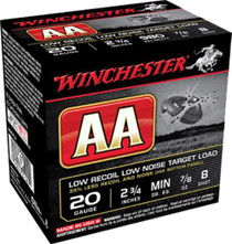 "Winchester AA Low Recoil Low Noise Target 20 Ga, 2.75"", 7/8oz, 8 Shot, 25rd/Box"