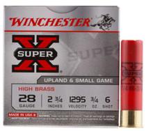 """Winchester Super-X High Brass 28 Ga, 2.75"""", 1295 FPS, .75oz, 6 Shot, 25rd/Box"""