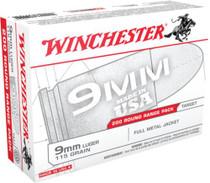 Winchester Range Bulk Case 9mm 115gr, Full Metal Jacket, 1000rd/Case (5 Boxes of 200rd)
