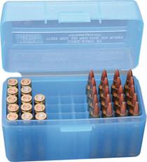 MTM 50 Rifle Ammo Boxes .222 & .222 Magnum Mechanical Hinge Blue