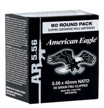 Federal American Eagle 5.56x45mm NATO 55gr FMJ, On Stripper Clips - 90rd Box