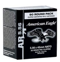 Federal American Eagle 5.56x45mm NATO 55gr FMJ, On Stripper Clips - 90rd Box