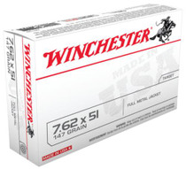 Winchester USA Brand .308 Winchester/7.62x51mm NATO 147 Grain Full Metal Jacket 20rd Box