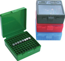 "MTM P-100 Flip-Top Pistol Ammo Box 1.22"" OAL Green Poly"