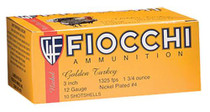 "Fiocchi Turkey Nickel Plated 12 Ga, 3"", 1-3/4oz, 6 Shot, 10rd/Box"