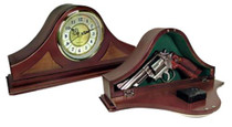 PSPI Concealment Mantle Clock 14x7x3 Wood Mahogany