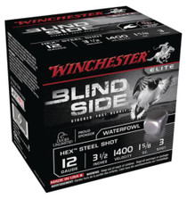 Winchester Blind Side Steel Hex Magnum Waterfowl 12 Gauge, 3.5 Inch, 1400 FPS, 1.625 Ounce, 3 Shot, 25rd/Box