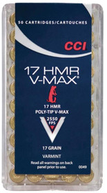 CCI Small Game 17 Hornady Magnum Rimfire (HMR) 20gr, Full Metal Jacket 50rd/Box