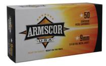 Armscor 9mm, 124 Gr, FMJ, 50rd Box