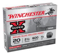 "Winchester Super-X Rifled Lead 20 Ga, 2.75"", 3/4oz, Slug, 5rd/Box"