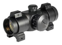 Barska Red Dot 1x 25mm Obj 5 MOA 30mm, Ext Tube Wvr Rings Black