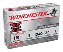 "Winchester Super-X Buckshot 12 ga 3"" 24 Pellets 1 Buck Shot 5rd Box"