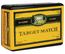 Speer Rifle Bullets Target Match .22 Caliber .224 52 Gr, Hollow Point Boat Tail, 100/Box