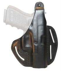 Blackhawk Three Slot Leather Pancake Holster Black Right Hand For Glock 26/27/33