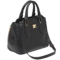 Bulldog Satchel Style Purse 16x9.5x5.5 Black Leather, Black Trim