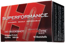 Hornady Superformance 12 Gauge 2.75 Inch 1600 FPS 8 Pellets 00 Buckshot 10 Per Box
