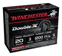 Winchester Double X High Velocity Turkey Loads, Copper Plated Buffered, 20 Gauge, 3 Inch, 1200 FPS, 1.312 Ounces, 5 Shot, 10rd/Box