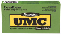 Remington UMC 9mm Flat Nose Enclosed Base 124gr, 50Box/10Case