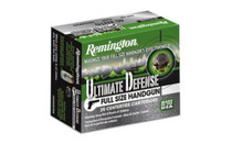 Remington Ultimate Defense 9mm 147gr, Brass Jacket Hollow Point, 20rd/Box
