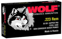 Wolf .223 Rem 55gr, Bimetal Jacket, Steel Case, 500rd/Box