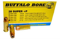 Buffalo Bore Ammunition 38 Super +P JHP 147gr, 20rd/Box