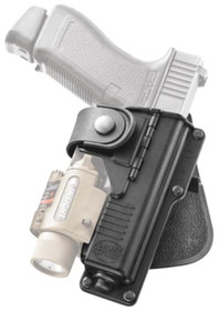 Fobus Paddle Holster Hinged for Natural Draw for Glock 17/22/31 with Laser or Light Black Right Hand