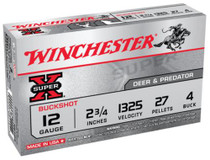 "Winchester Super-X Buckshot 12 ga 2.75"" 27 Pellets 4 Buck Shot 5rd Box"