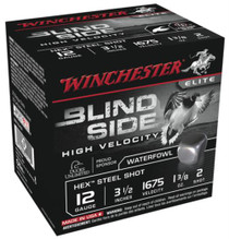 Winchester Blind Side Steel Hex High Velocity Waterfowl 12 Gauge, 3.5 Inch, 1675 FPS, 1.375 Ounce, 2 Shot, 25rd/Box