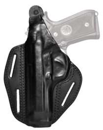 Blackhawk Three Slot Leather Pancake Holster Black Left Hand For Smith and Wesson M&P Compact 9mm/.40