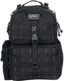 GPS Tactical Range Backpack Black Tactical Range Backpack - Black Visual I.D. storage system for ease of use. Features an external bungee system for targets. Has pull-out rain cover for sudden downpour. YKK Locking zipper for handgun compartment. Hook and