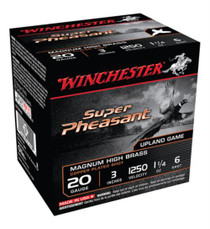 "Winchester Super-X Pheasant 20 Ga, 3"", 1250 FPS, 1.25oz, 6 Shot, 25rd Box"