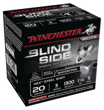 "Winchester Blind Side Steel Hex Magnum 20 Ga, 3"", 1300 FPS, 1.1oz, 5 Shot, 25rd/Box"