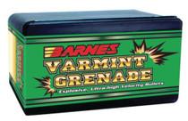 Barnes Varmint Grenade Bullets Lead Free .22 Caliber .224 Diameter 50 Grain 1:10 Inch Twist Or Faster Recommended 250 Per Box
