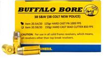 Buffalo Bore Ammunition 38S&W 125gr, Hard Cast Flat Nose 20rd/Box