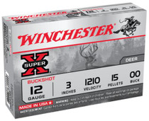 "Winchester Super-X Buckshot Buffered12 Ga, 3"", 1210 FPS, 15 Pellets, 00 Buck, Value Pack, 15rd/Box"