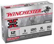 """Winchester Super-X Buckshot Buffered12 Ga, 3"""", 1210 FPS, 15 Pellets, 00 Buck, Value Pack, 15rd Box"""