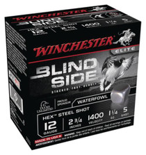 "Winchester Blind Side Hex Mag 12 Ga, 2.75"", 1400 FPS, 1.25oz, 5 Shot, 25rd/Box"