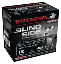 Winchester Blind Side Steel Hex Magnum Waterfowl 12 Gauge, 3 Inch, 1400 FPS, 1.375 Ounce, 1 Shot, 25rd/Box