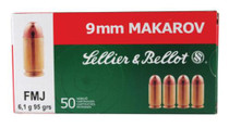 Sellier and Bellot 9mm Makarov 95 FMJ 50Rd/Box