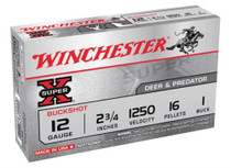 "Winchester Super-X Buckshot 12 Ga, 2.75"", 16 Pellets, 1 Buck Shot, 5rd/Box"