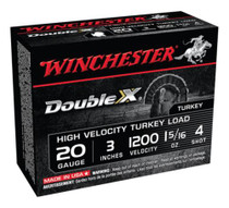 Winchester Double X High Velocity Turkey Loads, Copper Plated Buffered, 20 Gauge, 3 Inch, 1200 FPS, 1.312 Ounce, 4 Shot, 10rd/Box