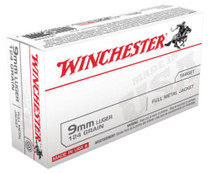 Winchester USA 9mm 124 Gr, FMJ, 50rd Box