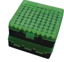 MTM Case Gard P-100 Fliptop Box .41-.44 Magnum/.45 Auto Clear Green/Black