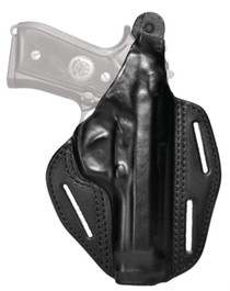 """Blackhawk Three Slot Leather Pancake Holster Black Right Hand For Smith and Wesson M&P 9mm/.40 Four"""" Barrel"""