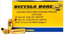 Buffalo Bore 9mm Subsonic 147 Gr, FMJ-FN, 20rd/Box