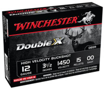 Winchester Double X High Velocity Buckshot Copper Plated Buffered, 12 Ga, 3.5 Inch, 1450 FPS, 15 Pellets 00 Buck, 5rd/Box