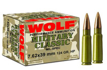 Wolf Military Classic 7.62x39 124gr, Soft Point, 1000 Rds