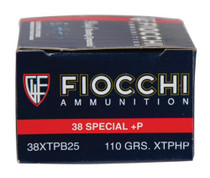 Fiocchi Extrema .38 S&W Special +P 110 Grain XTP Hollow Point 25rd/Box